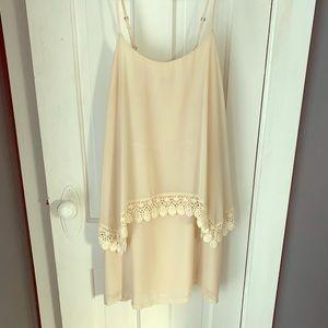 Forever 21 cream chiffon sleeveless dress - size L